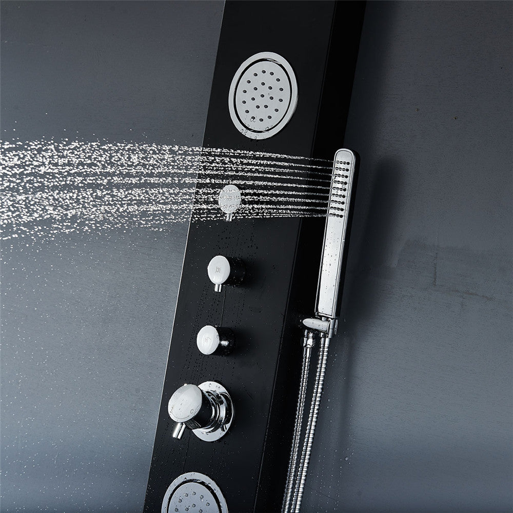 "Vantory VA102 59"" Aluminum Black Shower Panel - VANTORY - THE REAL TASTE OF BATHING"