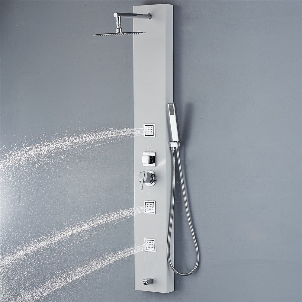 Vantory VJA01-1 59'' Stainless Steel White Shower Panel - VANTORY - THE REAL TASTE OF BATHING