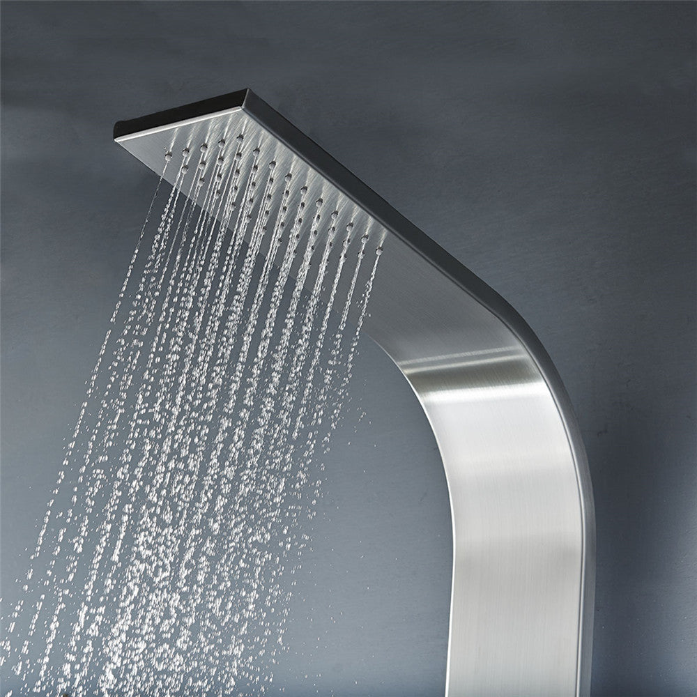 "Vantory VS056 51"" Stainless Steel Rainfall Shower Panel Tower System - VANTORY - THE REAL TASTE OF BATHING"