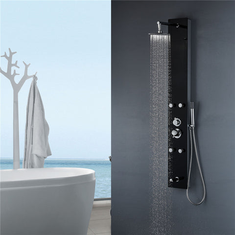 "Vantory VG084 59"" Aluminum Black Tempered Glass Cover Shower Panel - VANTORY - THE REAL TASTE OF BATHING"