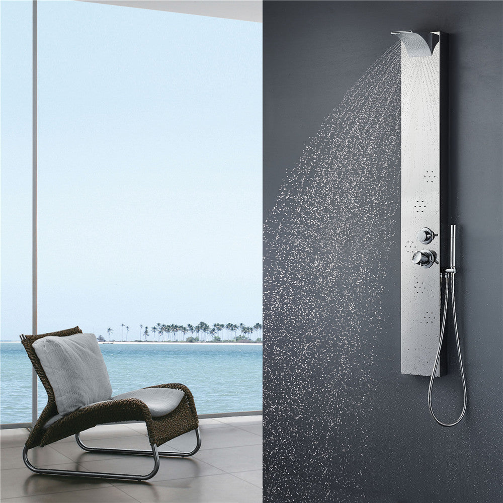 Vantory Shower Panel System VS061 8K Chrome Mirror Stainless Steel Rainfall Waterfall Multi-Function Faucet with 5 body jets - VANTORY - THE REAL TASTE OF BATHING