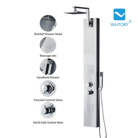 "Vantory VS156 55"" 8K Mirror Stainless Steel Shower Panel - VANTORY - THE REAL TASTE OF BATHING"