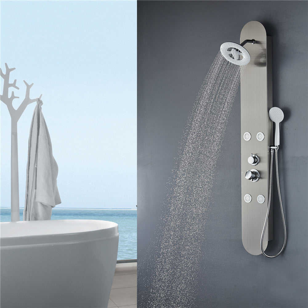 Vantory VS166 59'' Stainless Steel Shower Panel - VANTORY - THE REAL TASTE OF BATHING