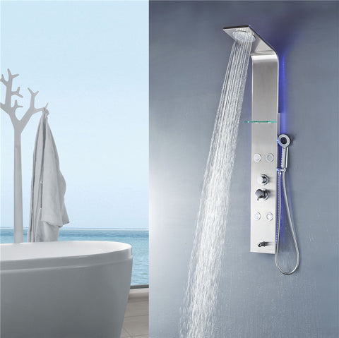 Vantory VS258 55'' Stainless Steel Shower Panel - VANTORY - THE REAL TASTE OF BATHING