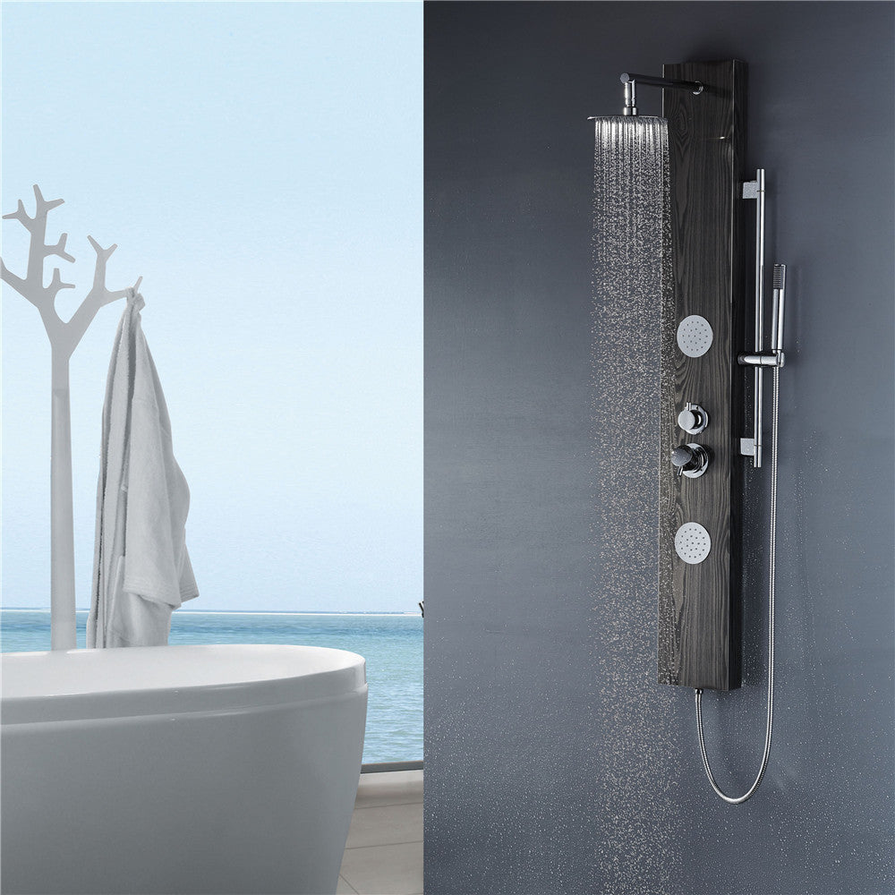 Vantory VS259 59'' Black Wood Pattern Stainless Steel Shower Panel - VANTORY - THE REAL TASTE OF BATHING