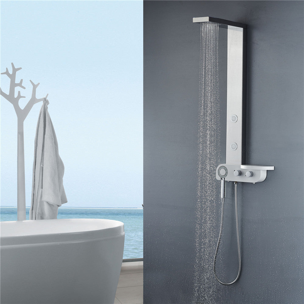 "Vantory VS300 44"" 8K Mirror Stainless Steel Rainfall Shower Panel - VANTORY - THE REAL TASTE OF BATHING"