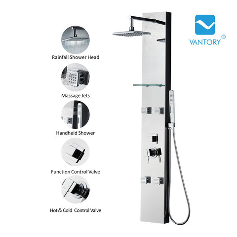 Vantory VSA109 59'' 8K Mirror Stainless Steel Shower Panel - VANTORY - THE REAL TASTE OF BATHING