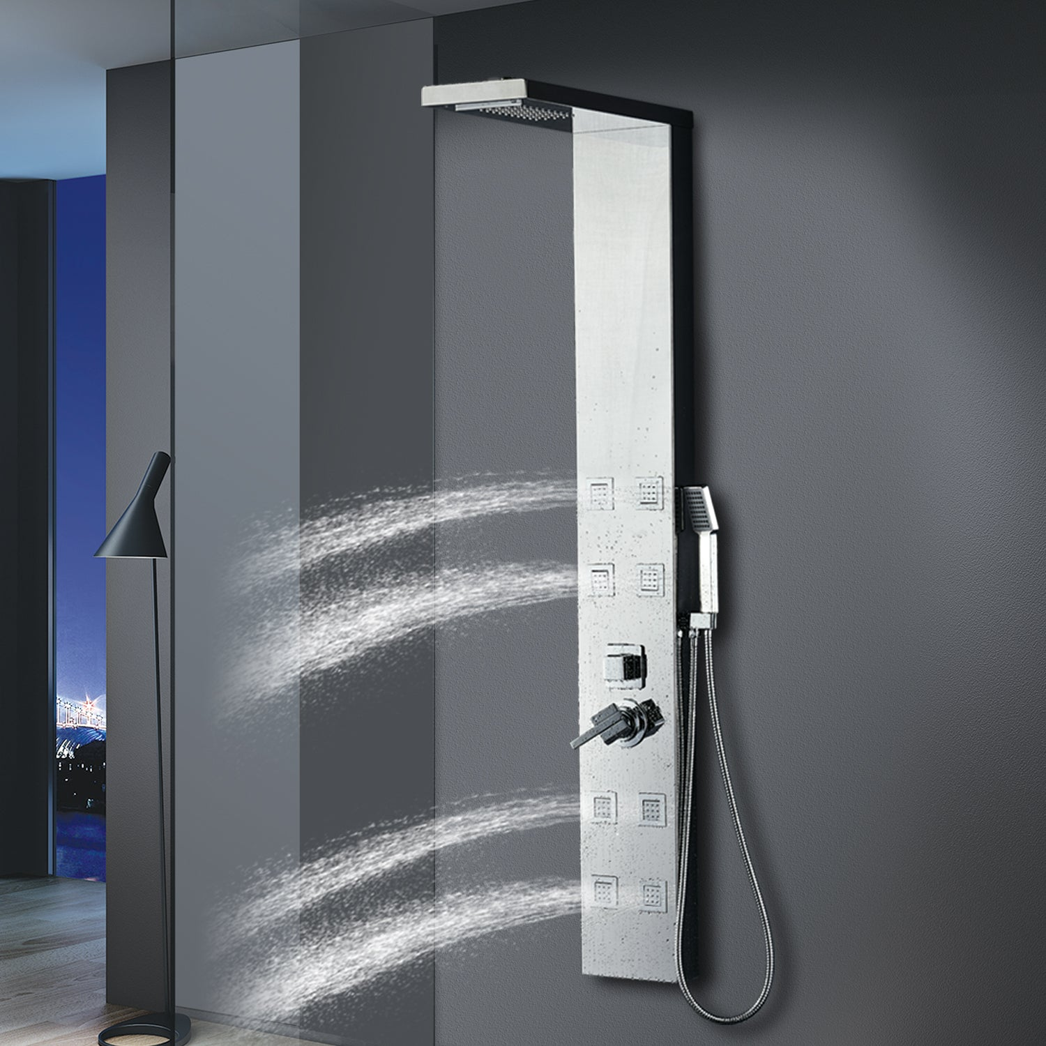 Vantory Stainless Steel Shower Panel Tower System,8K Mirror Rainfall  Waterfall Shower Head Massage System