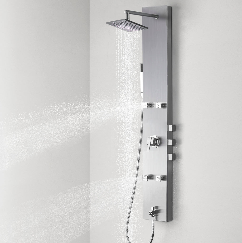 "Vantory Shower Panel System Tower Column with  Adjustable Massage Jets 304 Stainless Steel Brushed Nickel  Multi-Function with Spout Rainfall 51"" VSA101 - VANTORY - THE REAL TASTE OF BATHING"