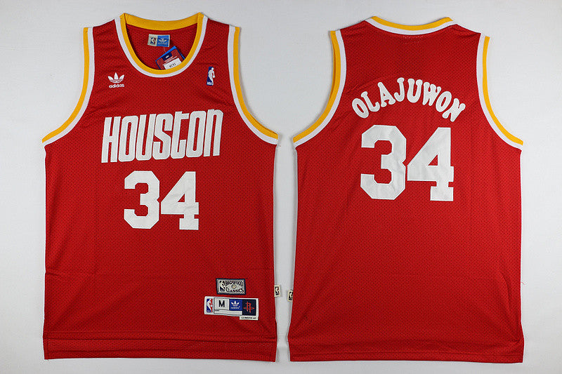 Houston Rockets #34 Hakeem Olajuwon Basketball Red Jersey S-XXL
