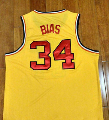 Len Bias #34 maryland terrapins Basketball Jersey Swingman Yellow SEWN S-XXL
