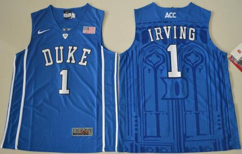 New Duke Blue Devils #1 Kyrie Irving Blue stripes Men's Basketball Jersey