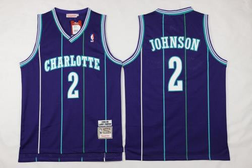 NEW Charlotte Hornets Larry Johnson #2 Basketball Purple Throwback Jersey S-XXL