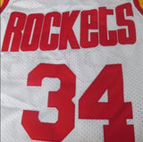 Hot Houston Rockets #34 Hakeem Olajuwon Retro Basketball Jersey White