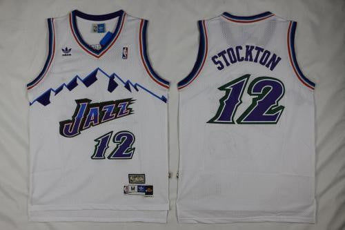 NEW Utah Jazz John Stockton #12 Swingman Basketball White Jersey S-XXL