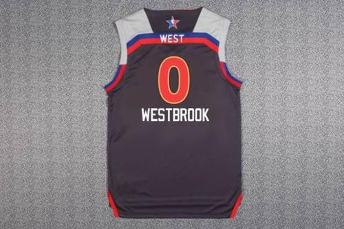 NEW 2017 Western All-Star Russell Westbrook #0 Basketball Charcoal Jersey
