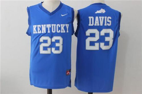 New Kentucky Wildcats #23 Anthony Davis Blue Men's Basketball Jersey S - XXL