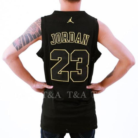 NEW Commemorative Michael Jordan #23 Swingman Basketball Black&Gold Jersey S-XXL