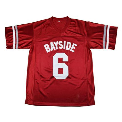 AC Slater #6 Bayside Tigers Football Red Jersey Saved By The Bell movie M-3XL