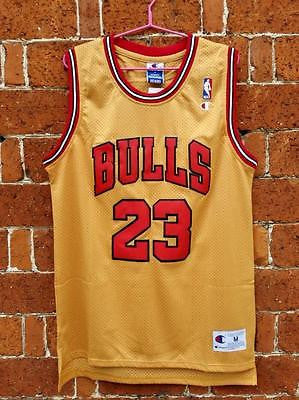 NEW CHICAGO BULLS Michael Jordan #23 Gold Jersey Basketball retro S-XXL
