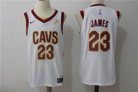 New Version 2018 Cleveland Cavaliers LeBron James #23 Basketball White Jersey S-XXL