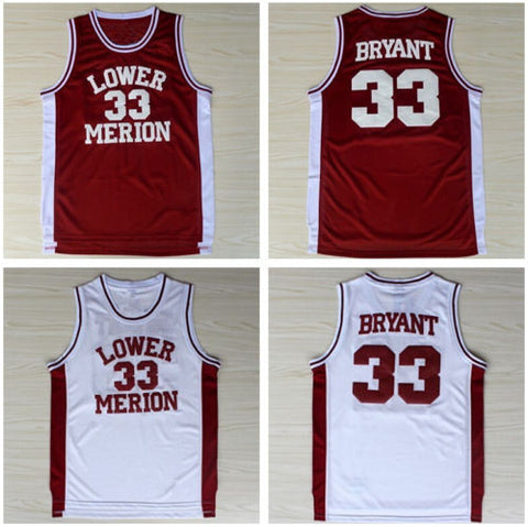 0dee7c97c ... Details about Kobe Bryant 24 33 Lower Merion High School Jersey classic  - Red ...