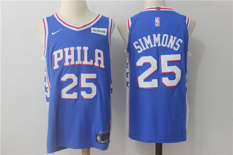 New Version 2018 Philadelphia 76ers Ben Simmons #25 Basketball Blue Jersey S-XXL
