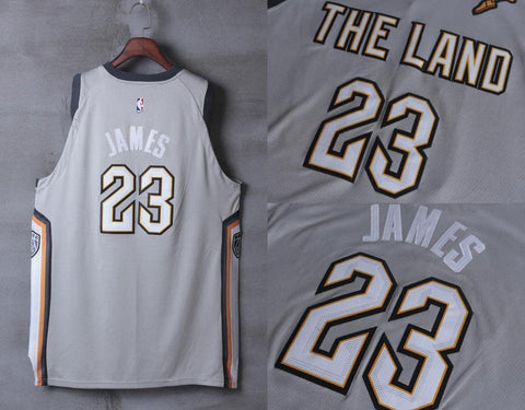 New version #23 LeBron James Cleveland Cavaliers THE CITY Grey Jersey