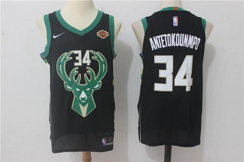 Milwaukee Bucks Giannis Antetokounmpo #34 Black Jersey S-XXL