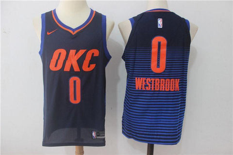 Oklahoma City Thunder #0 Russell Westbrook Blue-Red Basketball Jerseys S-XXL