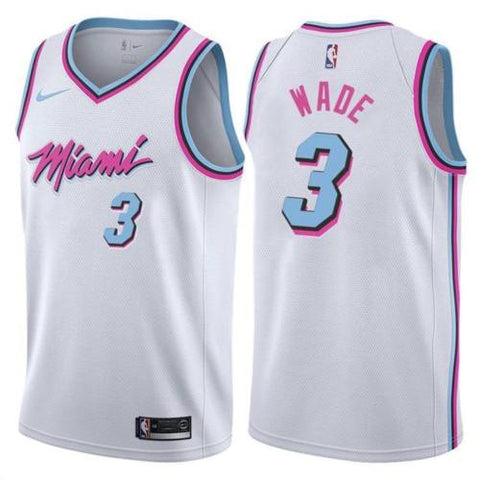 NWT Miami Heat Dwyane Wade #3 City White Jersey Adult Basketball stitched S-XXL