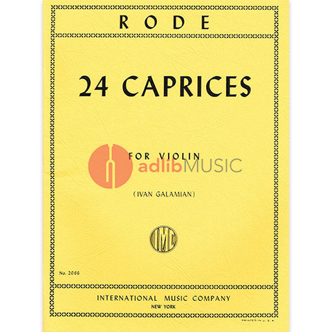 24 Caprices for Violin Solo - Jacques Pierre Rode - IMC - Galamian Edit
