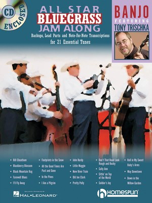 All Star Bluegrass Jam Along for Banjo - Backups, Lead Parts and Note-for-Note Transcriptions for 21 Essential - Banjo Homespun /CD