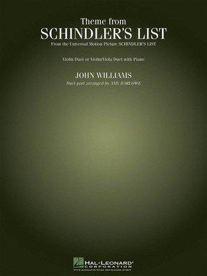 Theme from Schindler's List - Violin Duet (or Violin/Viola Duet) with Piano - John Williams - Violin Amy Barlowe Hal Leonard Violin Duet Score/Parts