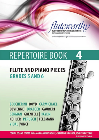 Fluteworthy Repertoire Book 4 - Flute & Piano Pieces - Grades 5 & 6 - Fluteworthy