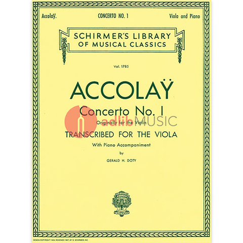 ACCOLAY CONCERTO N.1 LIB.1785 VIOLA/PNO - ACCOLAY - G Schirmer