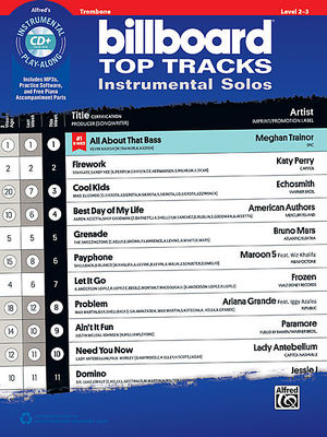 Billboard Top Tracks Instrumental Solos - Trombone - Trombone Alfred Music /CD - Adlib Music