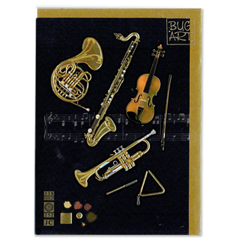 Gift Card - Orchestral Instruments (French Horn, Trumpet, Saxaphone, Violin, Triangle) - Bug Art M58 - Adlib Music