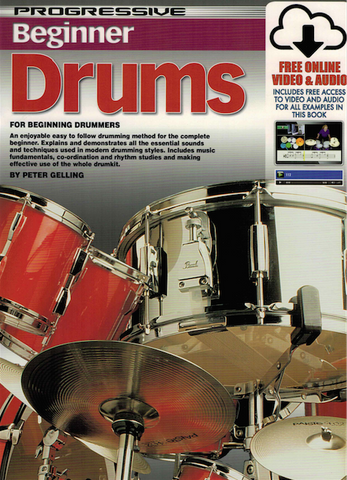 Progressive Beginner Drums Book/Onlline Audio & Video - Drum Method - Peter Gelling - Koala