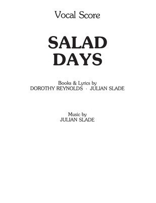 Salad Days - Vocal Score - Julian Slade - Vocal IMP Vocal Score