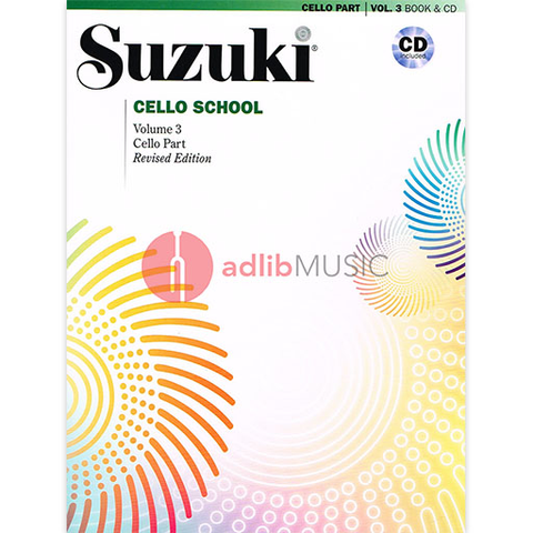 Suzuki Cello School Cello Part & CD, Volume 3 (Revised) - Dr. Shinichi Suzuki - Cello Summy Birchard /CD