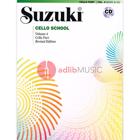 Suzuki Cello School Cello Part & CD, Volume 4 (Revised) - Dr. Shinichi Suzuki - Cello Summy Birchard /CD