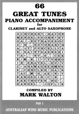 Great Tunes 66 Piano Accompaniment for Alto Sax / Clarinet - Mark Walton - Australian Wind Music Publications - Piano Accompaniment Only