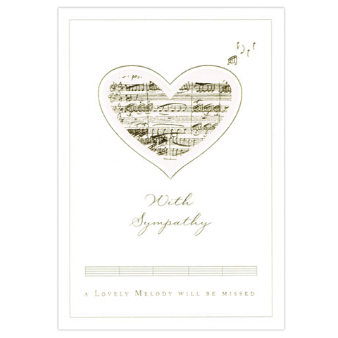 "Greeting Card - With Sympathy - cream card with a heart filled in with gold manuscript. ""A lovely melody will be missed."" Ivory White."
