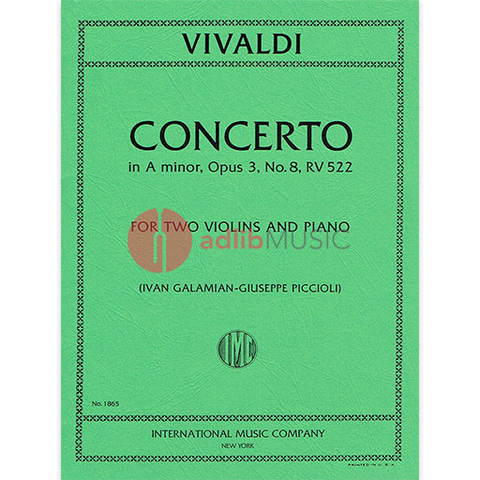 Concerto in A minor, RV 522 - for 2 Violins and Piano - Antonio Vivaldi - Violin IMC Violin Duet