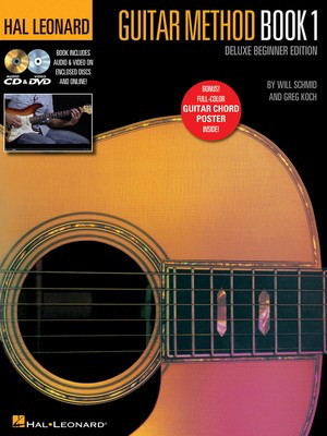 Hal Leonard Guitar Method - Book 1, Deluxe Beginner Edition - Includes Audio & Video on Discs and Online Plus Guitar Chord Poster - Guitar Greg Koch|Will Schmid Hal Leonard Sftcvr/Online Media - Adlib Music