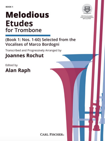 Melodious Etudes for Trombone - Book 1, Nos. 1-60 - Selected from the Vocalises of Marco Bordogni - Giovanni Marco Bordogni - Trombone - Joannes Rochut Carl Fischer - Online Media