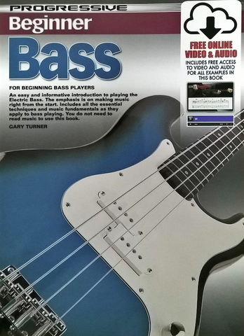 Progressive Beginner Bass Book/Online Audio - Bass Guitar Method - Gary Turner - Koala