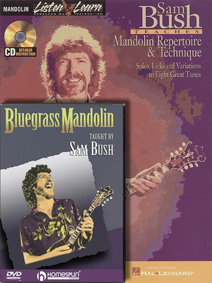 Sam Bush - Mandolin Bundle Pack - Sam Bush Teaches Mandolin Repertoire & Technique (Book/CD Pack) with Blu - Mandolin Sam Bush Homespun /CD/DVD