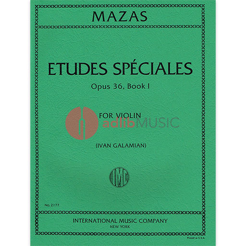 Etudes Speciales Op. 36 Book 1 - Violin Solo - Jacques Fereol Mazas edited by Ivan Galamian - IMC